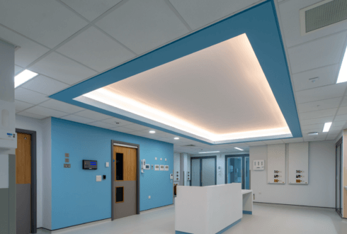 Image of Critical Care Unit at Royal Preston Hospital plasterboard feature works done by JCS Interiors